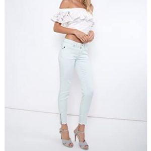 KanCan seafoam blue ankle zip skinny jeans NWT